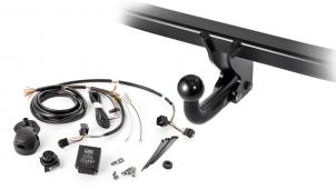 Set comprising fixed towbar and vehicle-specific electrical kit