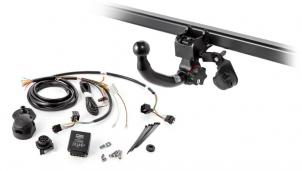Set comprising detachable towbar and electrical kit